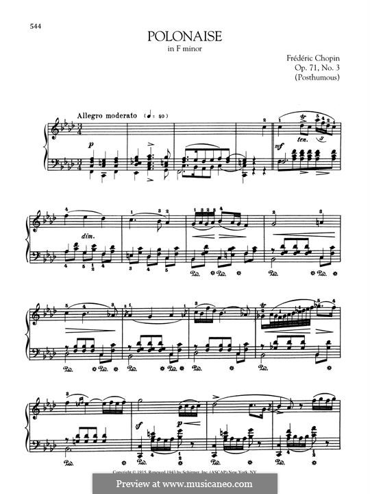 Polonaises, Op. posth.71: No.3 in F Minor by Frédéric Chopin