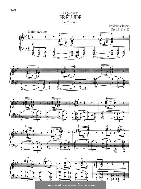 No.22 in G Minor: For piano by Frédéric Chopin