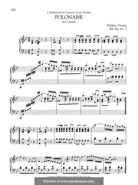 Polonaise in G Minor, B.1 KK IIa/1: For piano by Frédéric Chopin