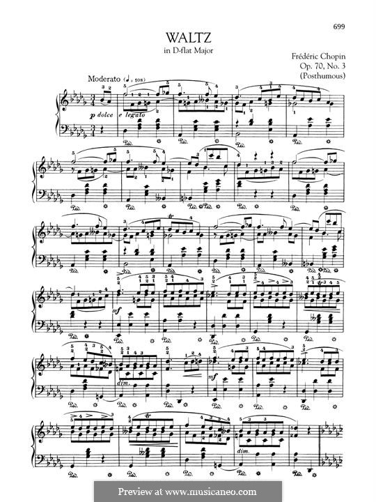 Waltzes, Op. posth.70: No.3 in D Flat Major by Frédéric Chopin