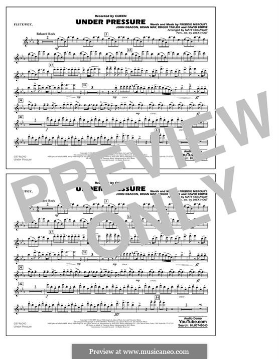 Under Pressure (arr. Matt Conaway): Flute/Piccolo part by Brian May, David Bowie, Freddie Mercury, John Deacon, Roger Taylor