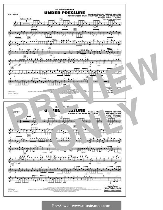 Under Pressure (arr. Matt Conaway): Bb Clarinet part by Brian May, David Bowie, Freddie Mercury, John Deacon, Roger Taylor