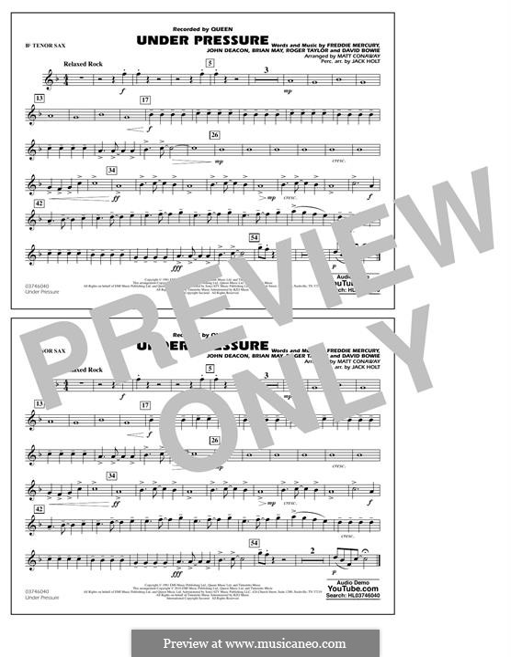Under Pressure (arr. Matt Conaway): Bb Tenor Sax part by Brian May, David Bowie, Freddie Mercury, John Deacon, Roger Taylor