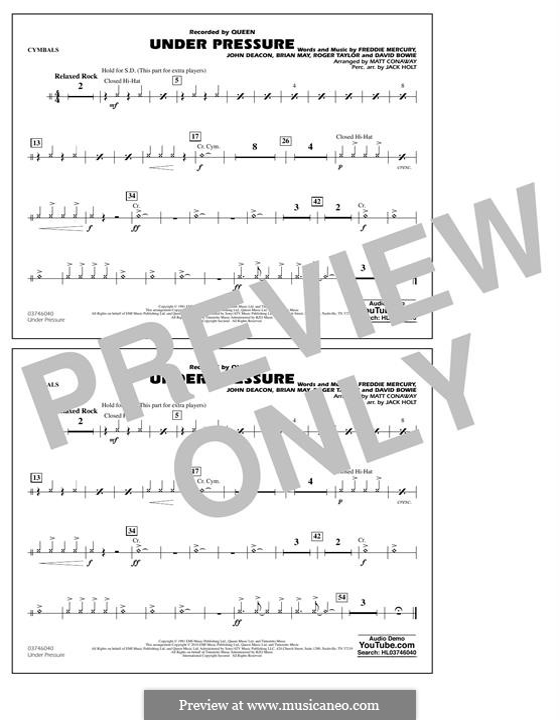 Under Pressure (arr. Matt Conaway): Cymbals part by Brian May, David Bowie, Freddie Mercury, John Deacon, Roger Taylor