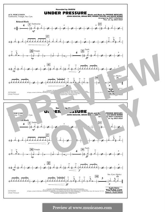 Under Pressure (arr. Matt Conaway): Aux Percussion part by Brian May, David Bowie, Freddie Mercury, John Deacon, Roger Taylor