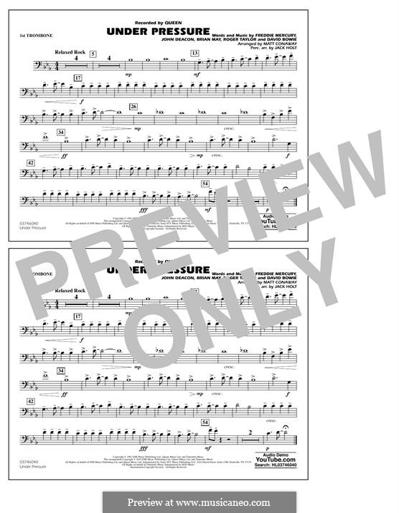 Under Pressure (arr. Matt Conaway): 1st Trombone part by Brian May, David Bowie, Freddie Mercury, John Deacon, Roger Taylor