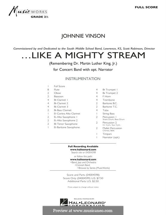 Like a Mighty Stream (for Concert Band and Narrator): Full Score by Johnnie Vinson