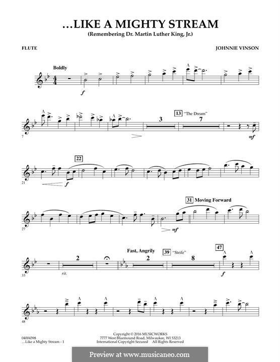 Like a Mighty Stream (for Concert Band and Narrator): Flute part by Johnnie Vinson