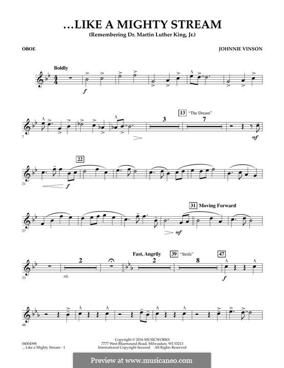 Like a Mighty Stream (for Concert Band and Narrator): Oboe part by Johnnie Vinson