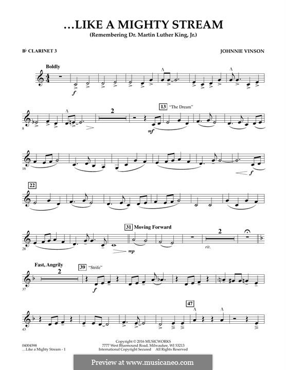 Like a Mighty Stream (for Concert Band and Narrator): Bb Clarinet 3 part by Johnnie Vinson