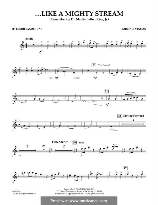Like a Mighty Stream (for Concert Band and Narrator): Bb Tenor Saxophone part by Johnnie Vinson