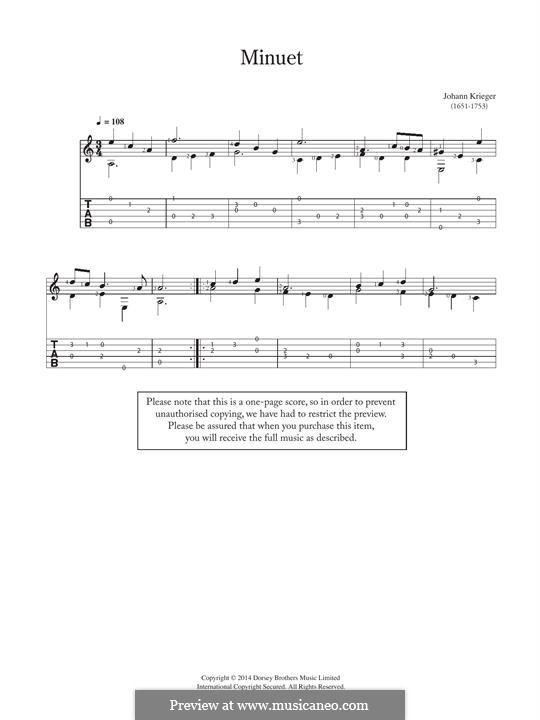 Menuet: For guitar by Johann Krieger