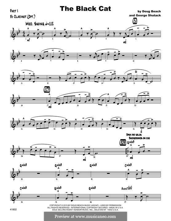 The Black Cat: Bb Clarinet part by George Shutack