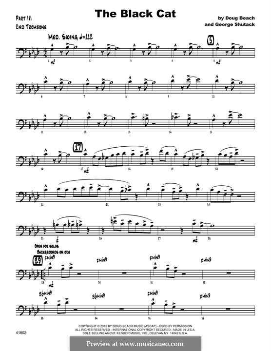 The Black Cat: 2nd Trombone part by George Shutack