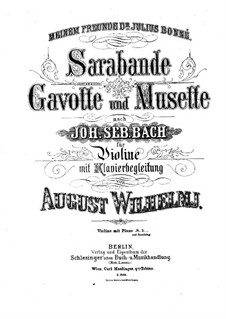 Suite No.3 in G Minor, BWV 808: Sarabande. Version for violin and piano by A. Wilhelmj by Johann Sebastian Bach