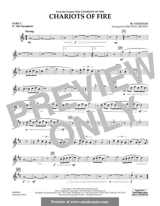 Chariots of Fire (arr. Michael Brown): Pt.2 - Eb Alto Saxophone by Vangelis
