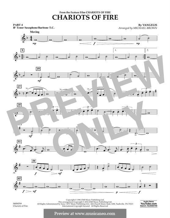 Chariots of Fire (arr. Michael Brown): Pt.4 - Bb Tenor Sax/Bar. T.C. by Vangelis