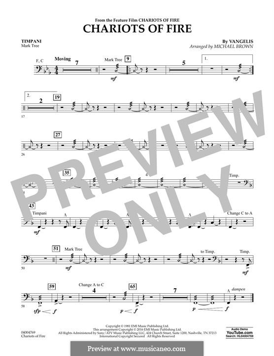 Chariots of Fire (arr. Michael Brown): Timpani part by Vangelis