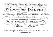 The Widow of Delphi. Overture, Serenade and Favorite Songs: The Widow of Delphi. Overture, Serenade and Favorite Songs by Thomas Hamly Butler