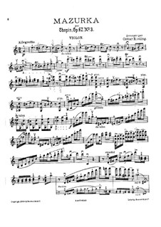 Mazurkas, Op. posth.67: No.3, for violin and piano – violin part by Frédéric Chopin