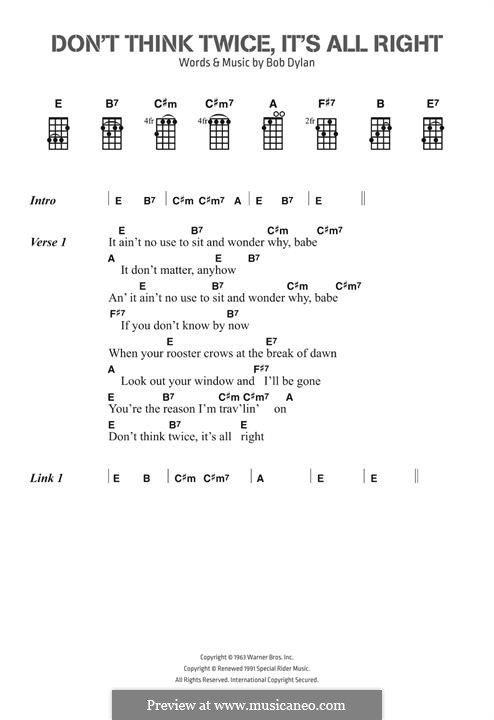 Don't Think Twice, It's Alright: Lyrics and chords by Bob Dylan