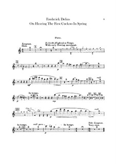 On Hearing the First Cuckoo in Spring: Flute part by Frederick Delius
