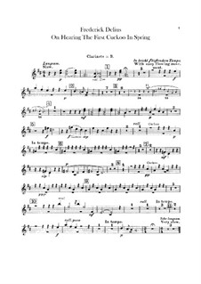 On Hearing the First Cuckoo in Spring: Clarinet part by Frederick Delius
