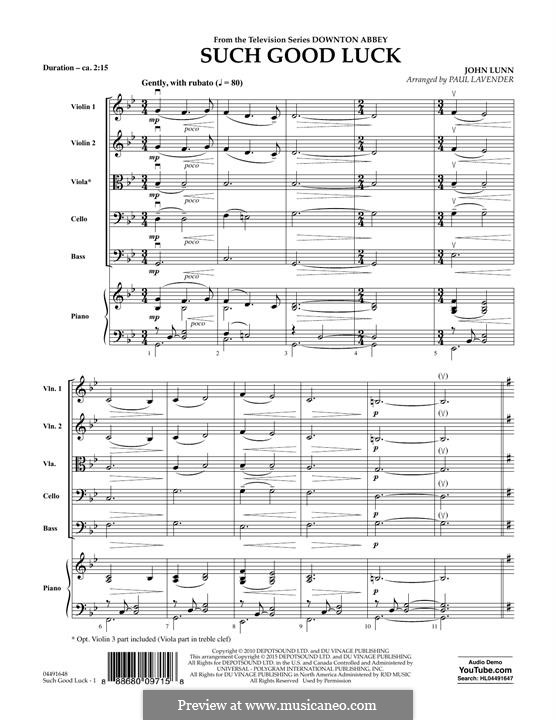 Such Good Luck (from Downton Abbey): Full Score by John Lunn