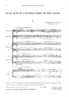 To be Sung of a Summer Night on the Water: Piano-vocal score by Frederick Delius