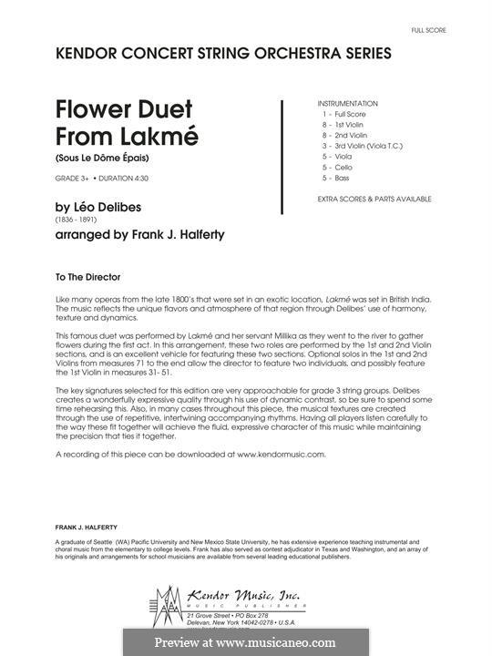 The Flower Duet: For strings – full score by Léo Delibes