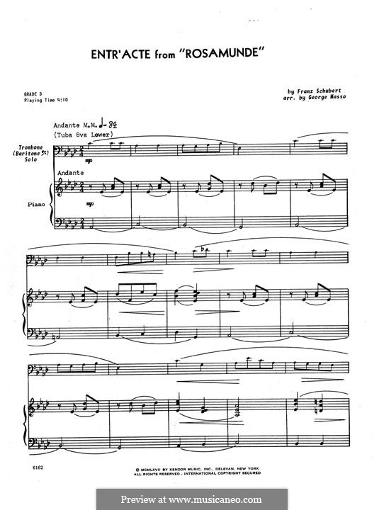 Fragments: Entr'acte, for trombone and piano – piano part by Franz Schubert