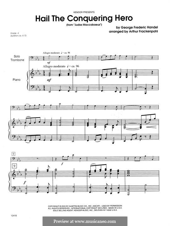 Judas Maccabaeus, HWV 63: Hail The Conquering Hero, for trombone and piano – piano part by Georg Friedrich Händel