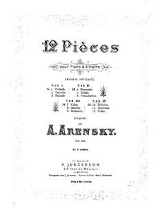 Twelve Pieces for Piano Four Hands, Op.66: Pieces No.10-12 by Anton Arensky