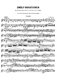 Twelve Variations on Theme from 'Judas Maccabaeus': For cello (or violin) and piano – violin part by Ludwig van Beethoven