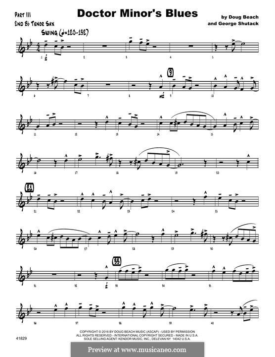 Doctor Minor's Blues: 2nd Bb Tenor Saxophone part by Doug Beach, George Shutack