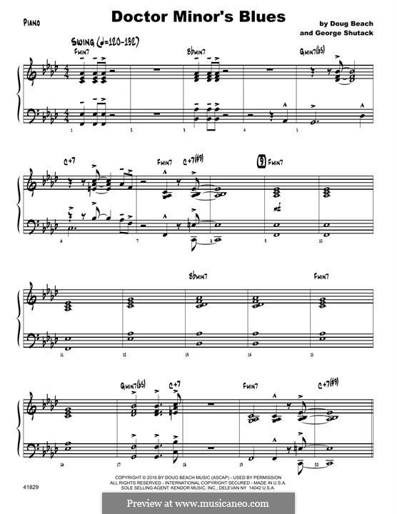Doctor Minor's Blues: Piano part by Doug Beach, George Shutack
