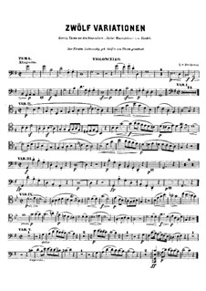Twelve Variations on Theme from 'Judas Maccabaeus': For cello (or violin) and piano – cello part by Ludwig van Beethoven