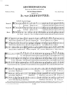 Abschiedsgesang (Song of Farewell), WoO 102: Vocal score by Ludwig van Beethoven