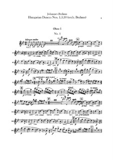 No.1, 3, 10: For orchestra – oboes parts by Johannes Brahms