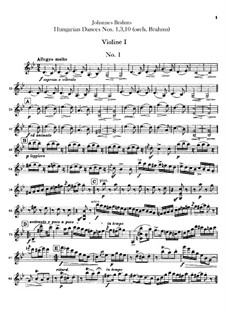 No.1, 3, 10: For orchestra – violins parts by Johannes Brahms