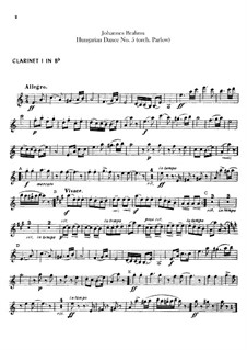 No.5, 6: For orchestra – clarinets parts by Johannes Brahms