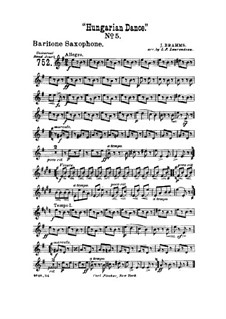 Dance No.5 in F Sharp Minor: For wind band – baritone saxophone part by Johannes Brahms