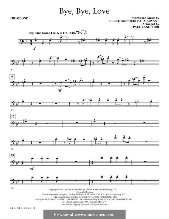 Bye Bye Love (The Everly Brothers): Trombone part by Boudleaux Bryant, Felice Bryant