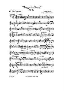 Dance No.5 in F Sharp Minor: For wind band – cornet in B I part by Johannes Brahms