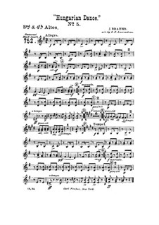 Dance No.5 in F Sharp Minor: For wind band – altos III-IV part by Johannes Brahms