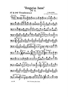 Dance No.5 in F Sharp Minor: For wind band – trombones I-II Part by Johannes Brahms