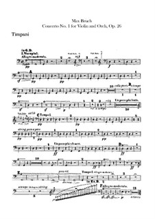 Violin Concerto No.1 in G Minor, Op.26: Timpani part by Max Bruch