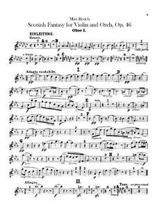 Scottish Fantasia for Violin and Orchestra, Op.46: Oboes parts by Max Bruch