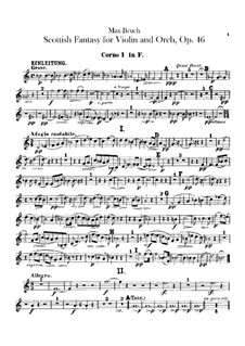 Scottish Fantasia for Violin and Orchestra, Op.46: Horns part by Max Bruch