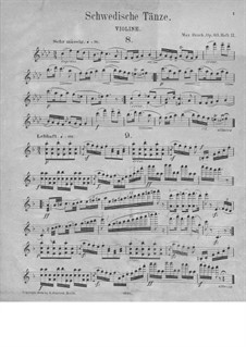 Swedish Dances, Op.63: No.8-15 – violin part by Max Bruch